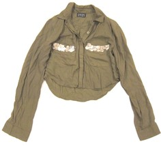 Urban Outfitters Bohemian Bones Crop Button Down Military Army Green Shi... - $20.10
