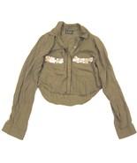 Urban Outfitters Bohemian Bones Crop Button Down Military Army Green Shi... - $20.10