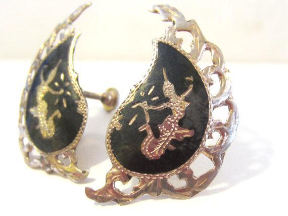 Siam Antique vintage sterling silver 925 screw back earrings