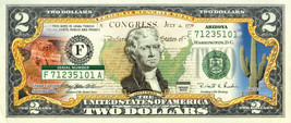 ARIZONA State/Park COLORIZED Legal Tender U.S. $2 Bill w/Security Features - $14.80