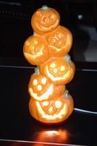 Set of 2 Gemmy Foam Pumpkin Stack Lighted Blow Mold Halloween Decoration - $60.76