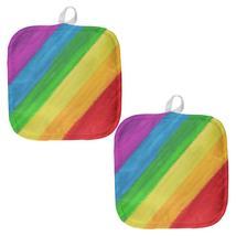 LGBTQ Rainbow Pride Crayon Flag All Over Pot Holder (Set of 2) - $18.95