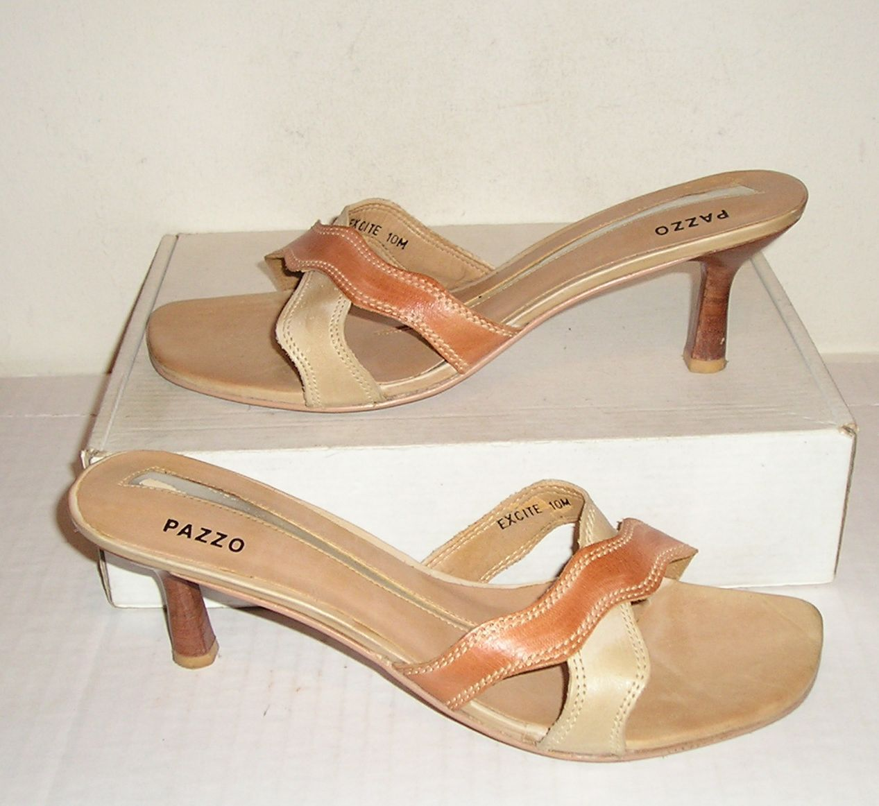 PAZZO EXCITE Women's Smooth Brown/Beige Leather Dress Sandals Slides Shoes 10 M