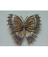 VINTAGE GOLD TONE & SILVER BUTTERFLY DETAILED PIN BROOCH SIGNED ART - $17.95