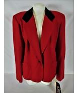 KORET womens Sz 18 L/S red BLACK VELVET collar 100% WOOL1 button jacket ... - $58.88