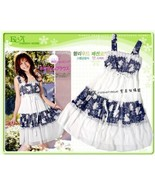 White and Blue Print Chiffon Layered  Voile Ruffled  Dress - $5.00