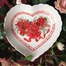 "Vintage Lefton China Heart Shaped Candy Dish w/gold Trim Details 6"" Japan - $11.30"