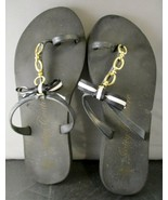 Women's Juicy Couture Black Flip Flops with Gold Chain and Bow Accents S... - $24.75