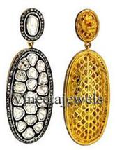 Beautiful Vintage Repro. Sterling Silver 6.00Ct. Rose/Anti. Cut Diamond Earrings - $667.73