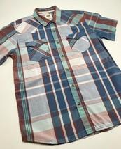 Men's Levi's White |  Blue | Red Plaid S/S Button Down Shirt - $69.00