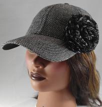 Woman's Hat Black Tweed w Metallic Silver Cap w Fabric Rosette Flourish - ₨1,742.13 INR