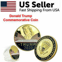 Keep America Great 2020 Donald Trump Commemorative Gold Coin American Pr... - $5.79