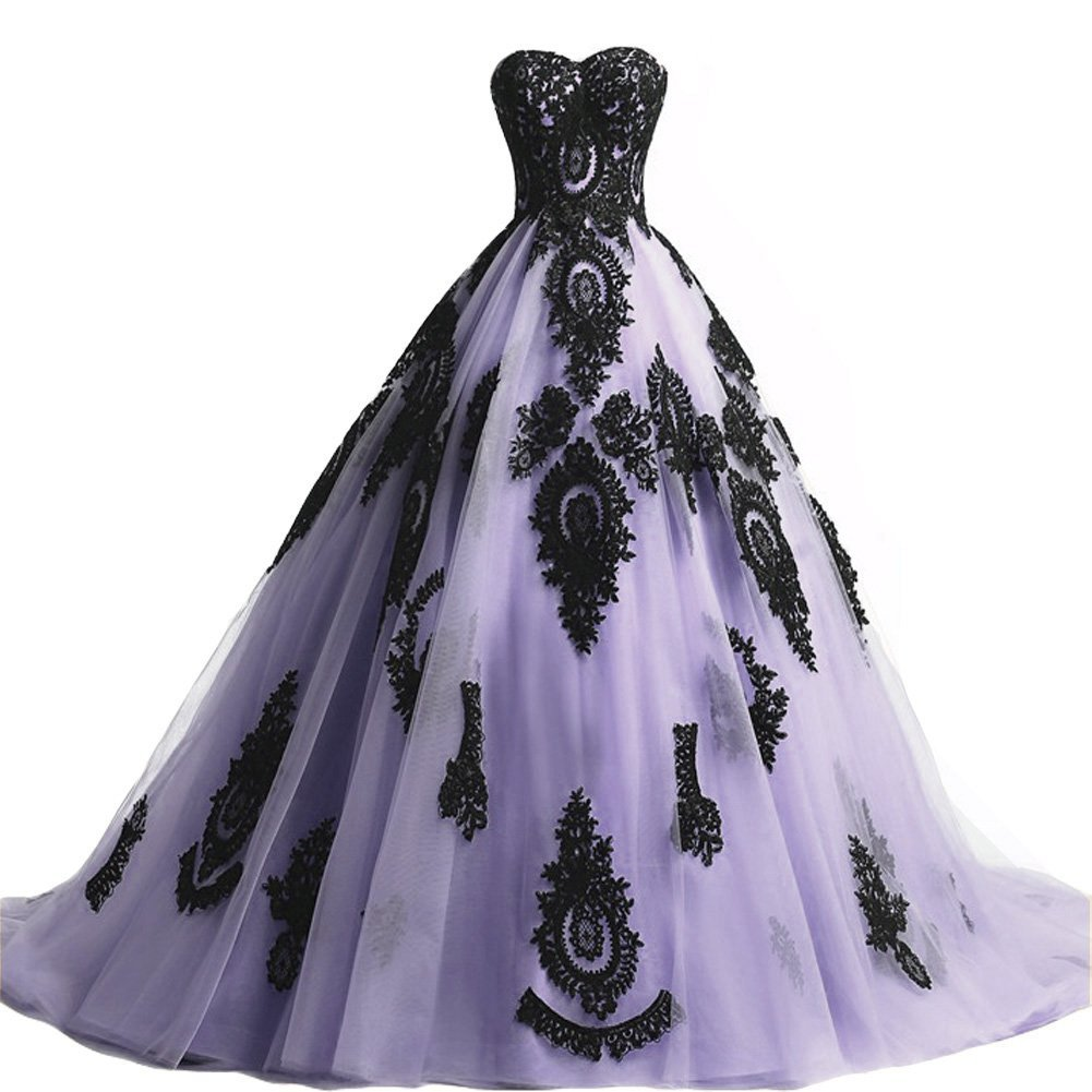 Long Ball Gown Black Lace Gothic Corset Formal Prom Evening Dresses Lavener