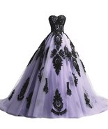 Long Ball Gown Black Lace Gothic Corset Formal Prom Evening Dresses Lavener - $159.00+