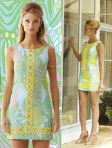 $198 Lilly Pulitzer Mila Sun Dance Small Print Yellow Lace Detail Shift ... - $139.50