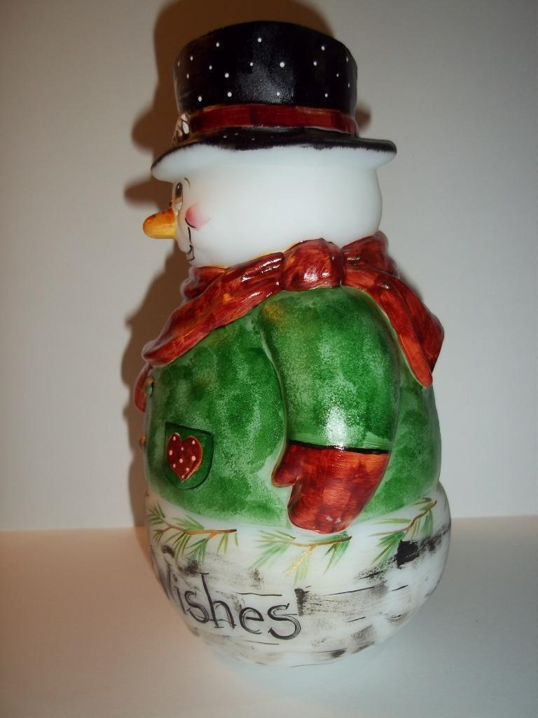 Fenton Glass Winter Wishes Red Cardinal Snowman Fairy Light Lamp  LE #9 of 14