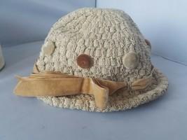 Gladys & Belle Vintage Punto Beige Bucket Hat Terciopelo Moño Botones co... - $40.50