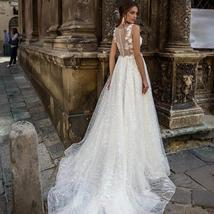Glittery Princess Side Split V Neck Appliques Lace Boho Wedding Dress image 2