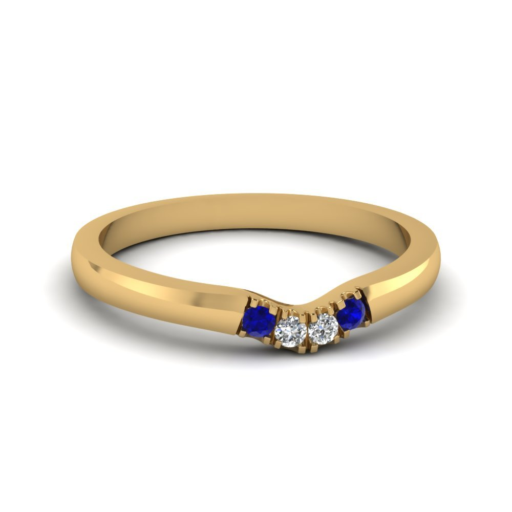 Primary image for Classic Blue Sapphire & CZ Diamond 14K Yellow Gold FN Curved Wedding Band Ring
