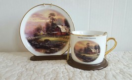 Thomas Kinkade Sunset at Riverdale Farm Tea Cup And Saucer Set 2003 With Stand - $19.99