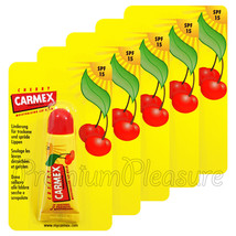 5 x Carmex Cherry Lip Balm Tube Flavored SPF15 Water Resistant 10g/0.35o... - $19.95