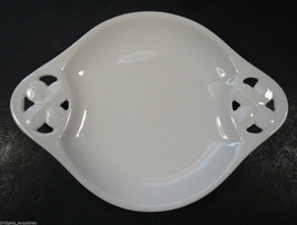 RS Germany White Porcelain Dish Flower Handles Blanc de Chine - $11.99