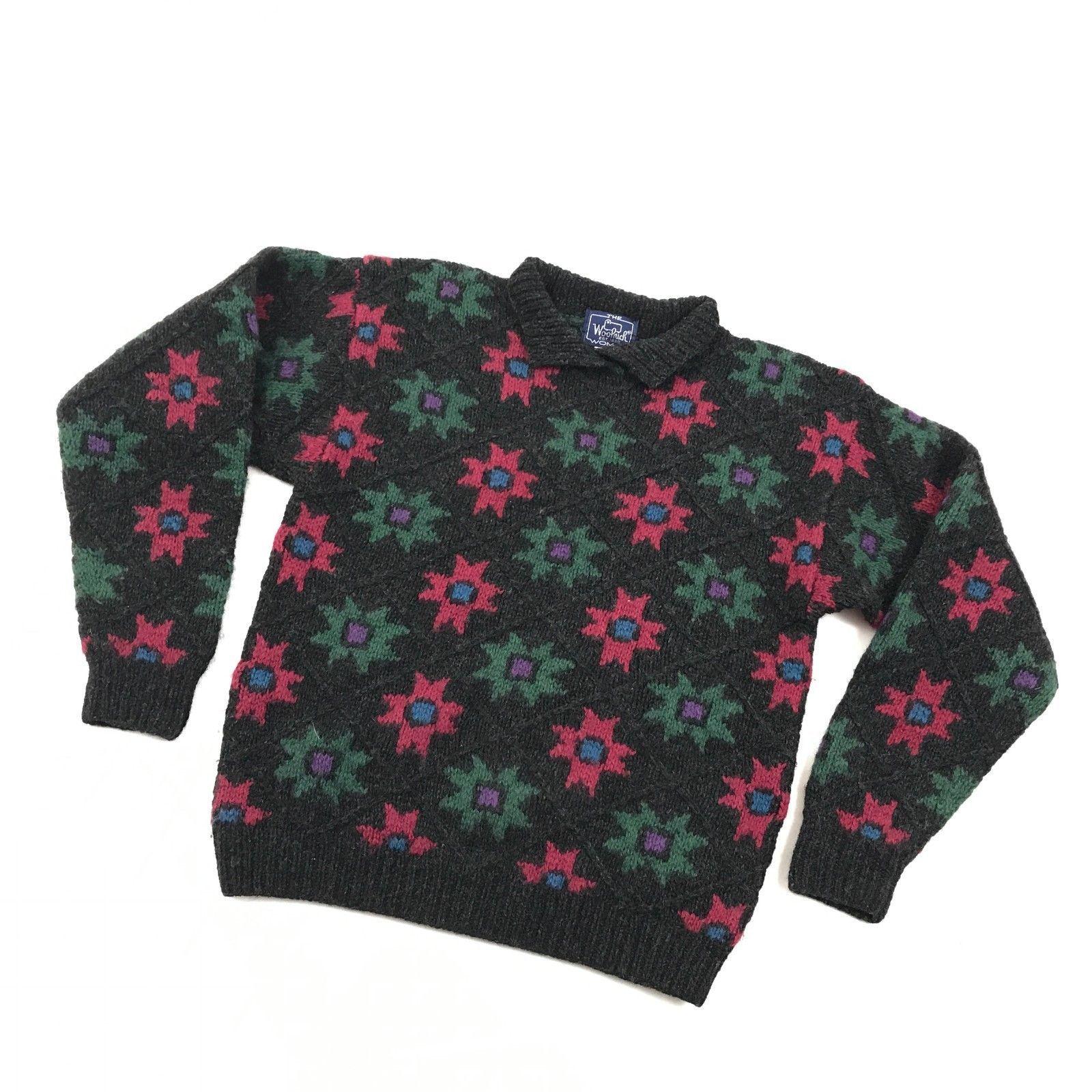 Vintage Woolrich Damen Reine Wolle Pullover Größe GRÖSSE M Zopfmuster Rollkragen
