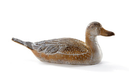 "9"" Long Elegant Duck Figurine Garden & Home Decor Brown & White Poly Resin Stone"