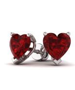 2.00 Cttw Heart Shape Ruby Solitaire Heart Stud Earrings In 10K White Gold - $111.86