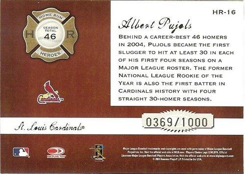 2005 donruss st.louis cardinals albert pujols serial # 369/1000