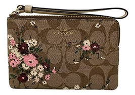 Coach Signature Corner Zip Small Wristlet With Evergreen Floral Print Khaki Styl