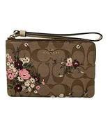 Coach Signature Corner Zip Small Wristlet With Evergreen Floral Print Kh... - $59.00