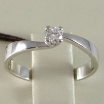 WHITE GOLD RING 750 18K, SOLITAIRE, SQUARED CRISS CROSSED, DIAMOND, CT 0.10 image 2
