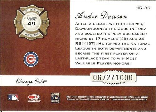 2005 donruss chicago cubs andre dawson serial # 672/1000