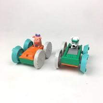 2 Disney 101 Dalmatians Dog Pig Flip Car No 6 McDonalds Plastic Toy Vintage 1998 - $10.39