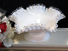 Vintage Fenton Glass Silvercrest Ruffled or Flared Footed Bowl - $39.99