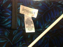 Studio I Black Sleeveless Dress w Blue/Teal Foliage Pattern Sz 18 image 7