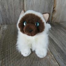 Cat Kitten Plush Siamese Aurora White Brown Stuffed Animal Blue Eyes - $19.79