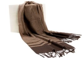 Men's Fleece Cashmere Feel Scarf Classic Plaids Infinity Scarf shawl Dark Brown