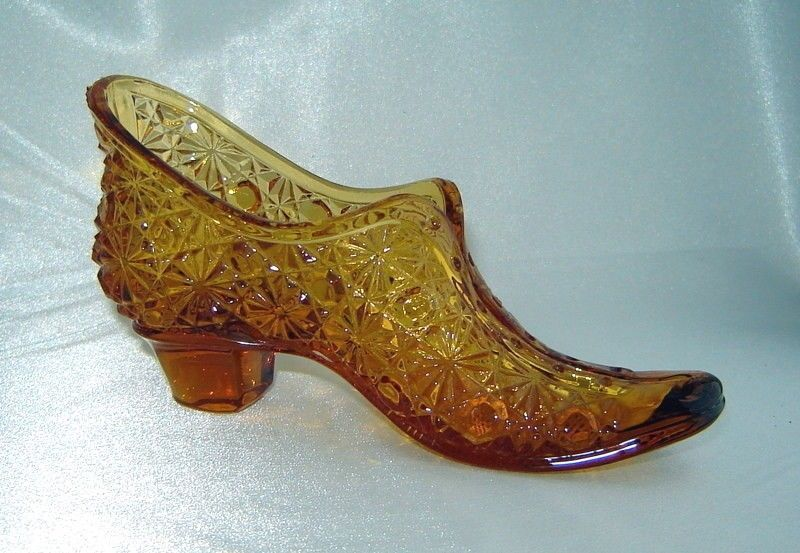 Primary image for Vintage FENTON Amber Depression Glass Daisy Dot Bow Slipper Victorian Shoe