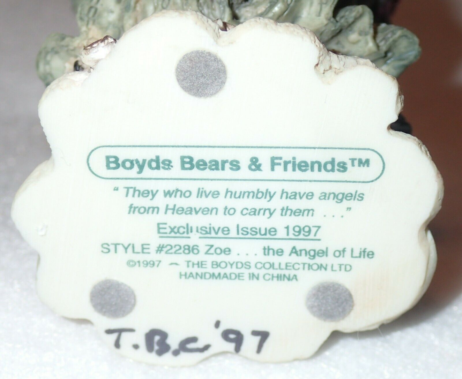 Boyd Bearstone Resin Bears Zoe The Angel Of Life Figurine #2286 NEW IN BOX image 4