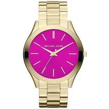 Michael Kors Women's Watch Ladies Golden-Tone Steel Bracelet Pink Dial MK3264 - $199.14