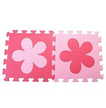 Interlocking Foam Mats EVA Foam Floor Mats (10 Tiles) Pink Flower