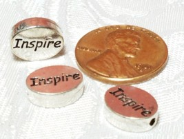 INSPIRE Word FINE PEWTER Oval DISC BEAD - 11mm L x 9mm W x 3mm D Hole 1.5m image 2
