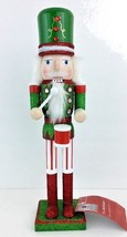 "Nutcracker Soldier Wood Christmas 15"" Red Green Glitter White ""AS IS""  M... - $10.88"