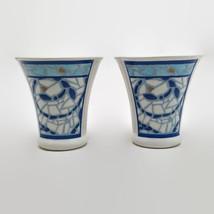 Pfaltzgraff Monaco Blue & White Mosaic Pattern Salt & Pepper Shakers - $14.85