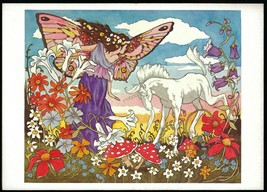 Vtg 1980 UNICORN FAIRY LAND MEADOW Greeting Card MICHAEL HAGUE Fantasy A... - $19.79