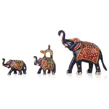 Metal hand painted elephant Indian Royal elephant figure artistic elephant - $70.68
