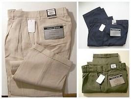 Mens Linen Pants Chereskin Green Blue Tan / Beige    36 x 32  - $19.76