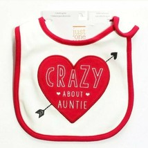 Carters Valentines Day Bib NWT Crazy About Auntie Infant Baby Aunt Red I... - $9.99